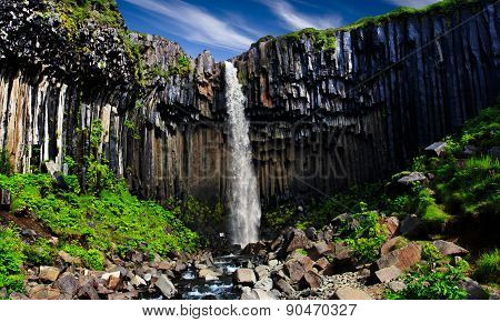 Svartifoss. Black waterfall.