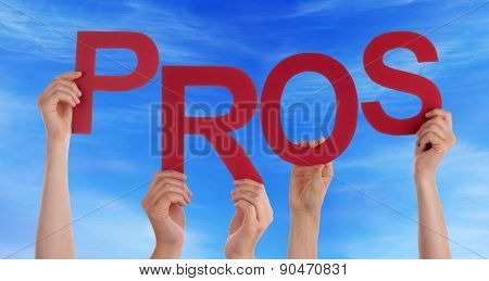 Many People Hands Holding Red Word Pros Blue Sky