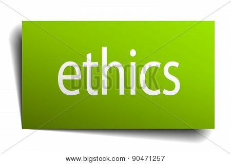 Ethics Green Paper Sign Isolated On White