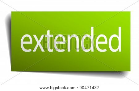 Extended Green Paper Sign Isolated On White