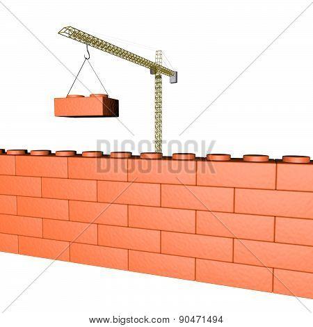 Crane building a wall