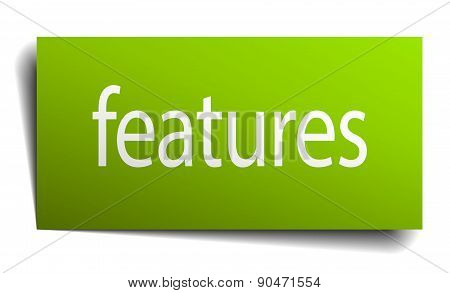 Features Green Paper Sign Isolated On White