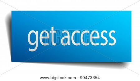 Get Access Blue Paper Sign On White Background