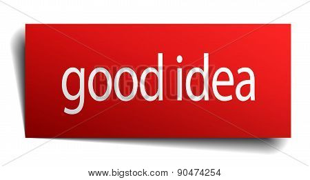 Good Idea Red Square Isolated Paper Sign On White