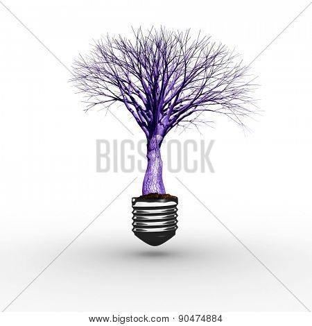Empty light bulb against dead tree with no leaves