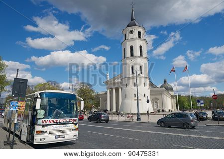 Vilnius City Tour bus stopped at the Cathedral square in Vilnius, Lithuania.