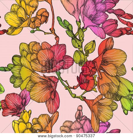 Seamless Pattern With Beautiful Of Spring Freesias