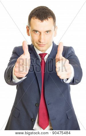 Enthusiastic Businessman With Thumbs Up