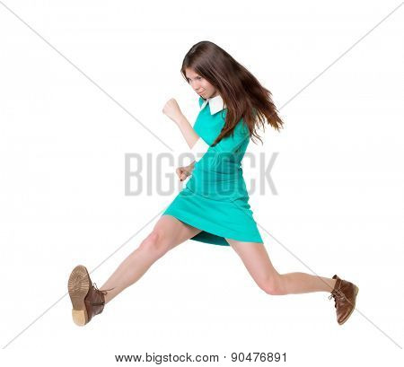 back view of running  woman. beautiful girl in motion. backside view of person.  Rear view people collection. Isolated over white background. purposeful girl in broad jump