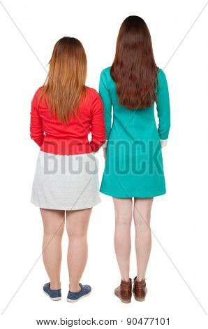 Two long haired friendly women .  backside view of person. Isolated over white background. Rear view people collection.  Two young women stand shoulder to shoulder and watched.