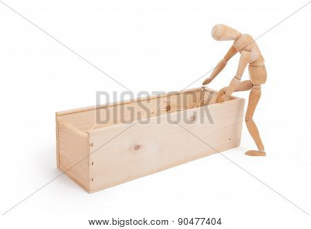 Wood Figure Mannequin Stepping In A Wooden Box