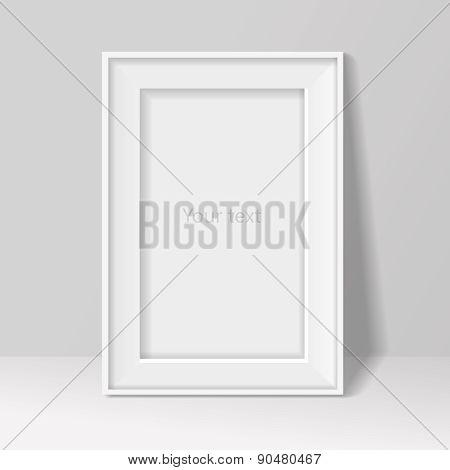 blank frame on white wall  background. Vector illustration .