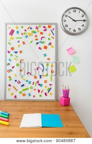 Wooden Desk And Magnetic Board