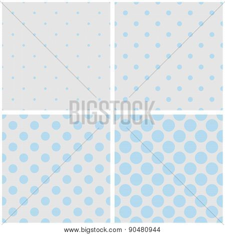 Tile vector pattern set with blue polka dots on grey background