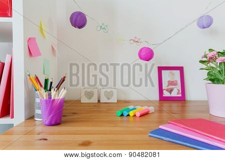 Desk Of Little Girl