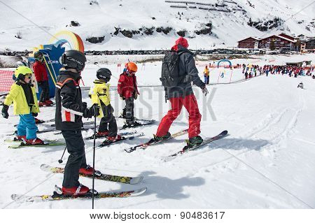 Kids Skiing In An Austria Ski School