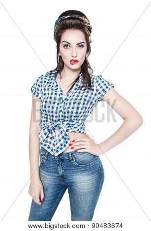 Young Beautiful Woman In Retro Pin-up Style Isolated