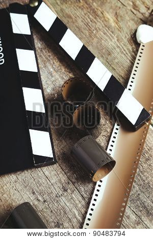 Cinematography. Vintage tape on the wooden table