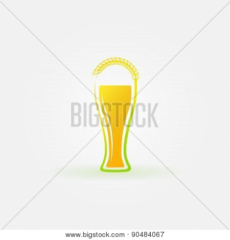 Glass of beer with ear of wheat logo