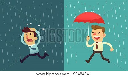 Businessman In The Rain - Preparation