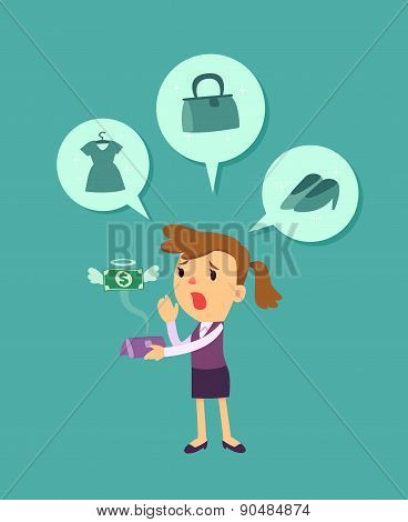 Business Woman Run Out Of Money
