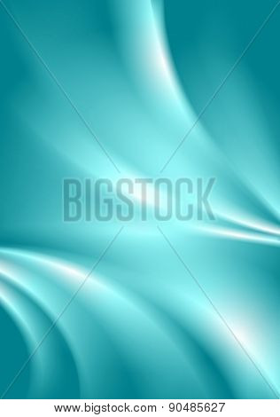Abstract cyan blue smooth vibrant wavy background. Vector design