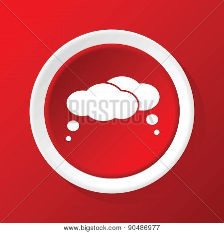 Thought clouds icon on red