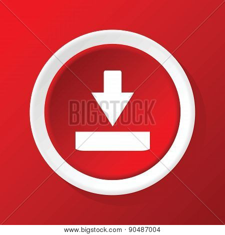 Download icon on red