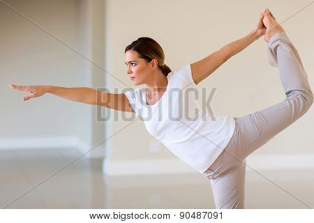 attractive young woman working out at home