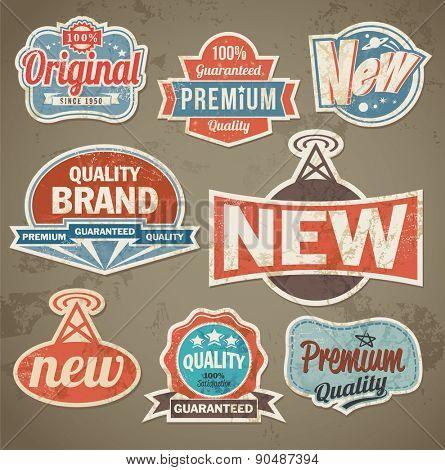Vintage label set. Vector retro design banner backgrounds. Label set with removable texture effect
