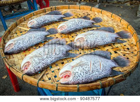 Close Up Fish Dry On Basket Outdoor For Lightning