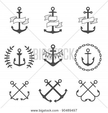 Vector anchor icons and logos set