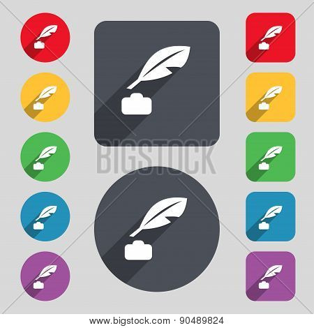 Feather, Retro Pen Icon Sign. A Set Of 12 Colored Buttons And A Long Shadow. Flat Design. Vector