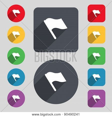 Finish, Start Flag Icon Sign. A Set Of 12 Colored Buttons And A Long Shadow. Flat Design. Vector