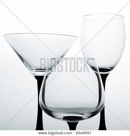 Three Empty Glasses For Wine, Brandy And Martini