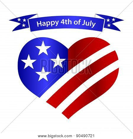 American Independence Day Heart And Banner Celebration Eps10
