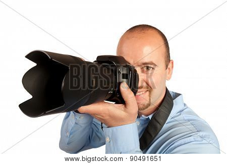 portrait of photographer isolated on white