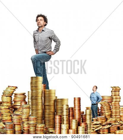 business people and coins piles on white