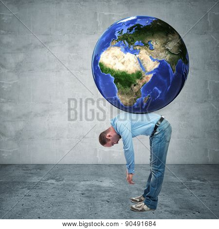 man with globe on his back europe and asia side