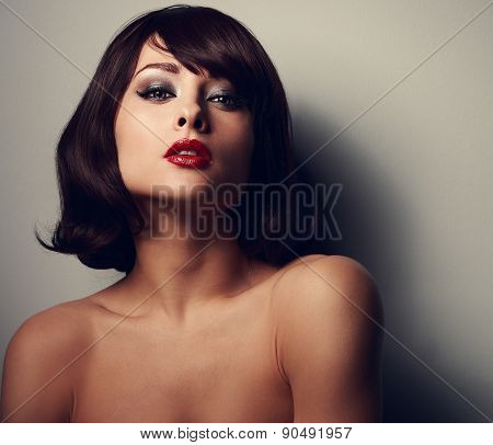 Sexy Hot Makeup Woman With Black Hair Style And Red Lips