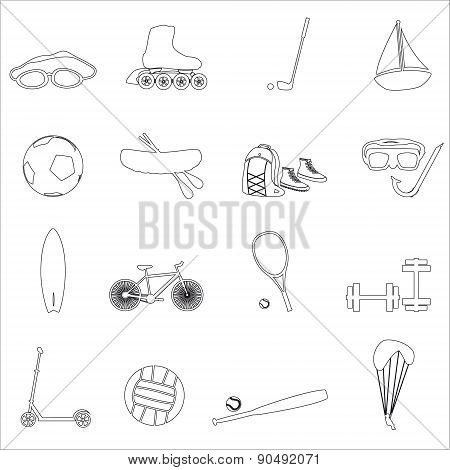 Summer Sports And Equipment Outline Icon Set Eps10