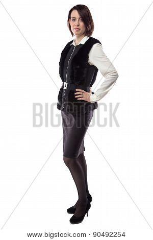 Portrait of woman in fur jacket
