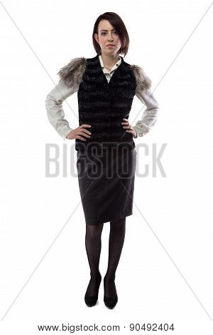Photo of serious woman in fur jacket