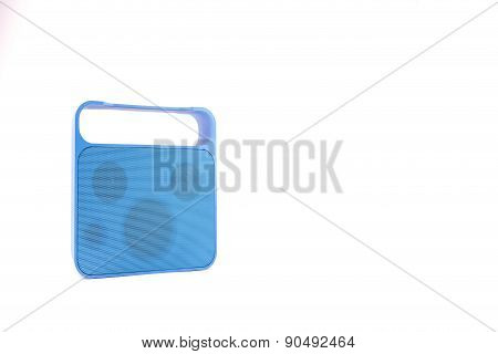 Blue Handy Speaker On White Background