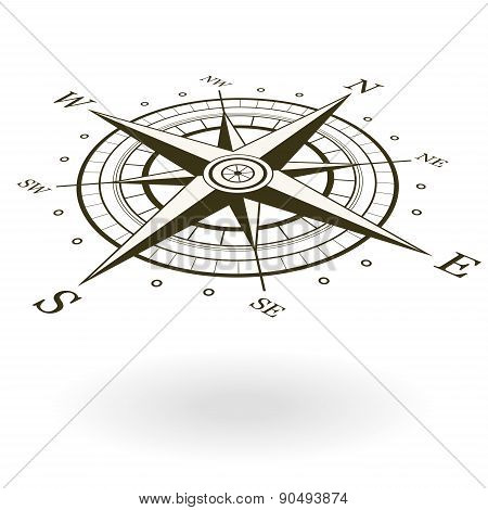 Classic Wind Rose Isolated On White Background. View From Above And One Side.