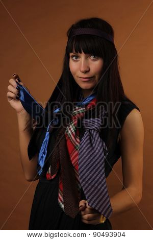 young girl of 27 years with ties