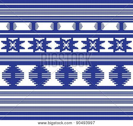 Set Of Ethnic Ornament Pattern In Blue Color