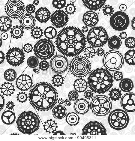 Black Cogs And Gears Seamless Background