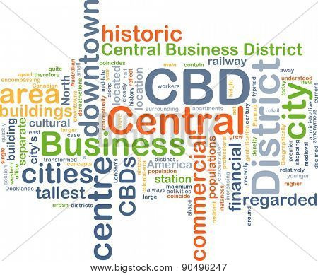 Background concept wordcloud illustration of central business district CBD