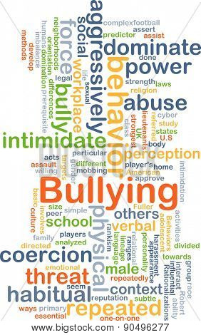 Background concept wordcloud illustration of bullying